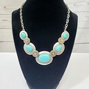 Vintage Oval Turquoise & Silver Chain Necklace